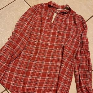 Red plaid long sleeve top women's